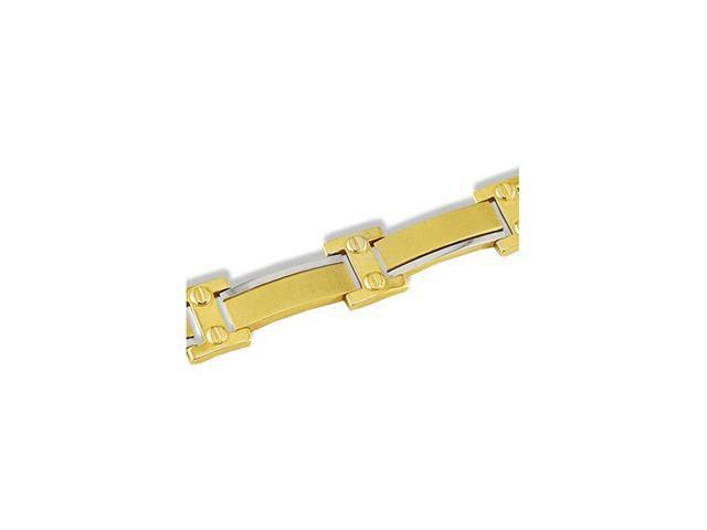 Mens 14k White Yellow Gold Two Tone Matte Bracelet