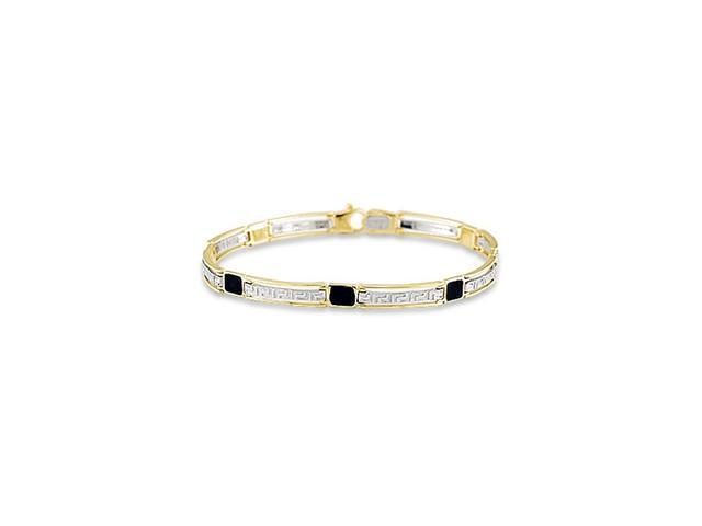 14k White Yellow Gold Greek Key Enamel Link Bracelet