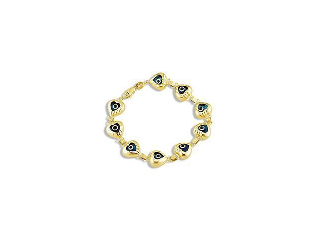 14k Yellow Gold Blue Evil Eye Heart Love Links Bracelet