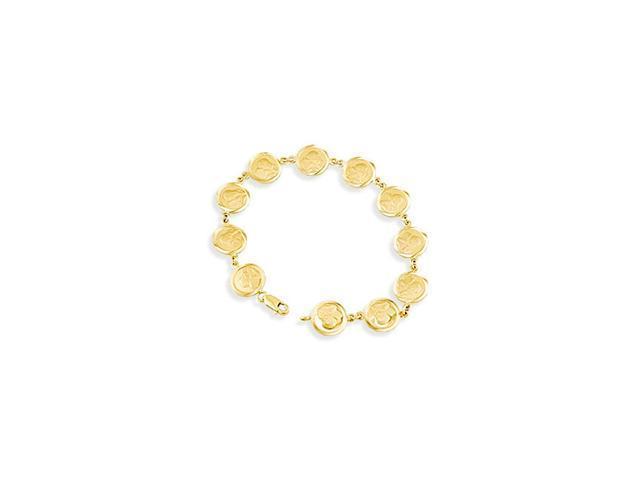 14k Yellow Gold Round Angel Cherub Solid Links Bracelet