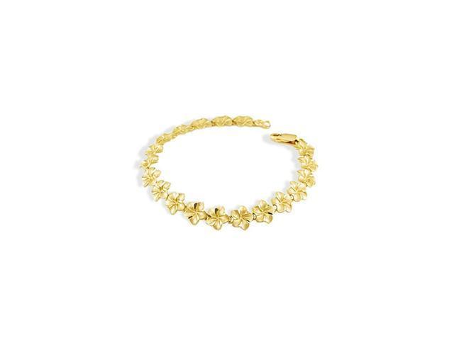 Ladies 14k Yellow Gold Hawaiian Flower Lei Bracelet