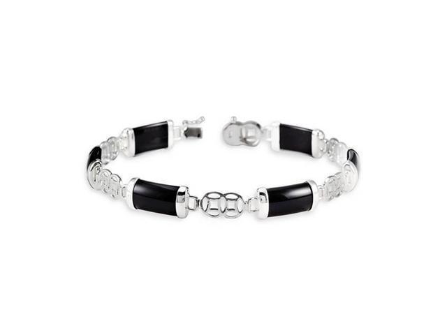 925 Sterling Silver Oriental Black Onyx Bracelet