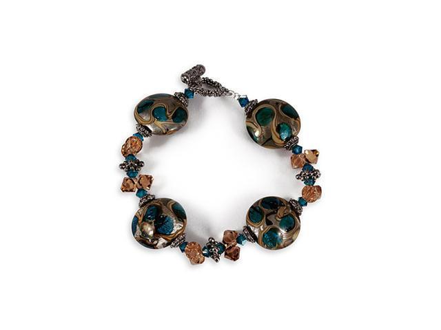 Earth Tone Blue Multi-Color Round Glass Beads Bracelet