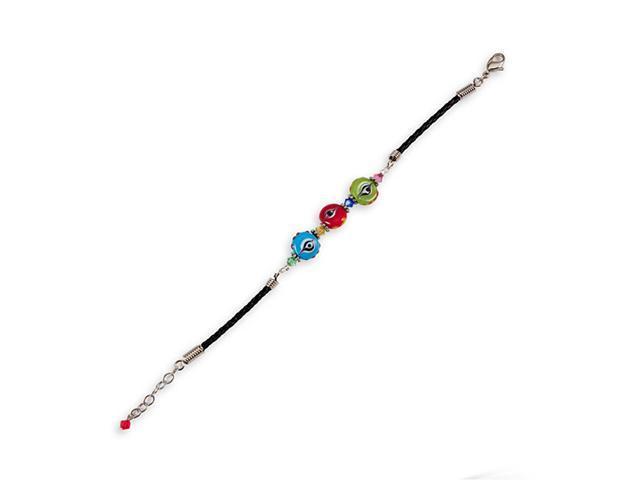Gold Pink Blue Red Green Glass Beads Black Bracelet