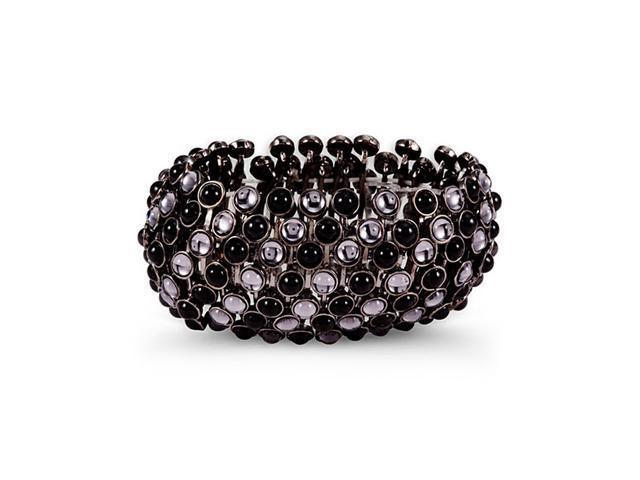 Grey Black Round Stone Fashion Stretch Bangle Bracelet