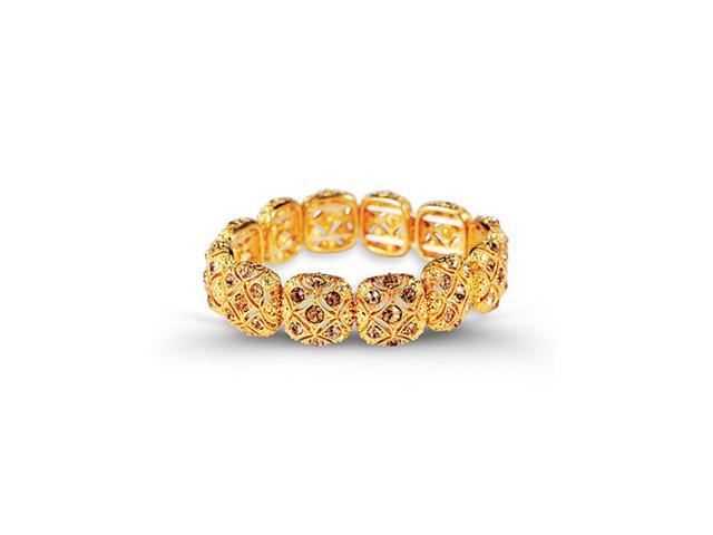 Gold Tone Round Smoky Topaz Color Square Link Bracelet
