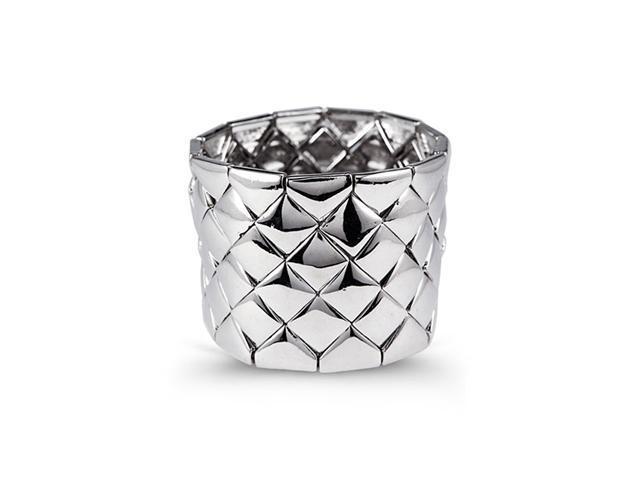 Silver Tone Extra Wide Diamond Shape Link Cuff Bracelet