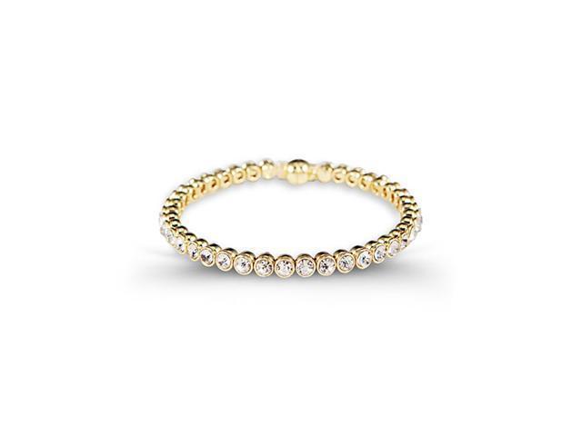 Polished Solid Round White CZ Gold Tone Bangle Bracelet