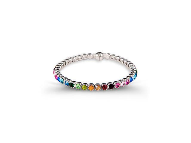 Polished Solid Multi-Color Round CZ Silver Tone Bangle
