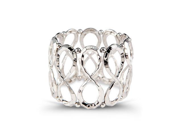 Extra Wide Silver Tone Swirl Link Beads Bangle Bracelet