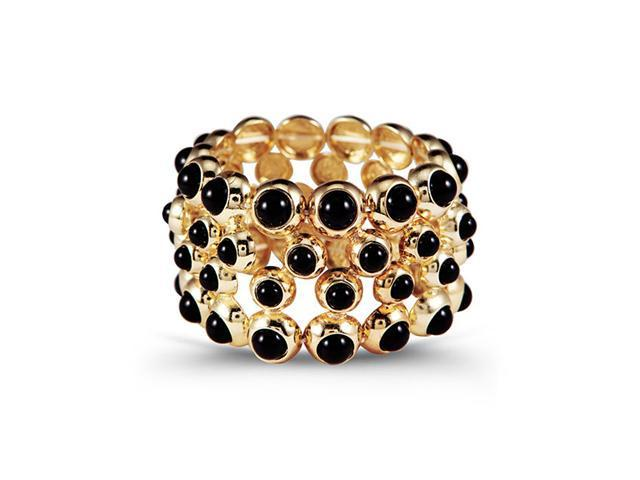 Gold Tone Solid Round Black Stone Stretch Bracelet
