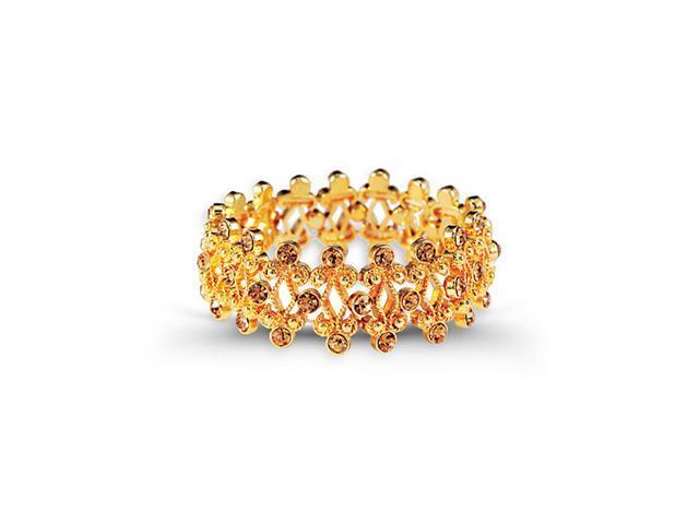 Gold Tone Round Smoky Topaz CZ Bangle Stretch Bracelet