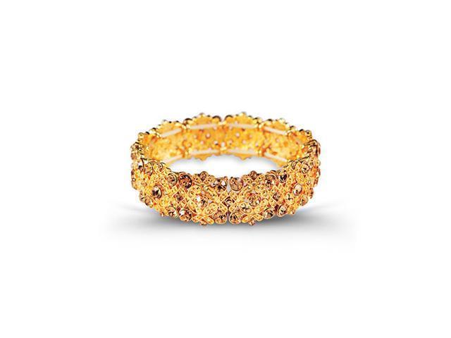 Gold Tone Smoky Topaz Color CZ Round Scroll Bracelet