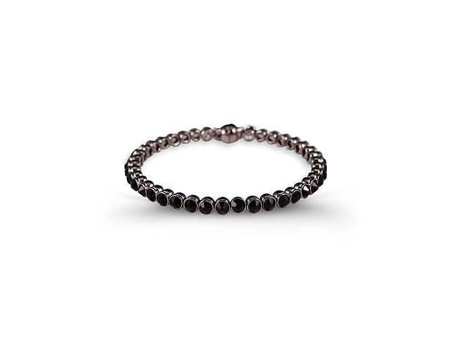 Polished Silver Tone Round Black CZ Bangle Bracelet