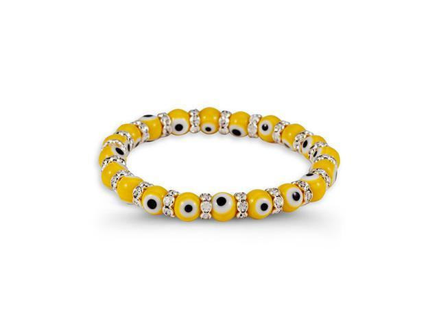 Round White CZ Band Yellow Glass Beads Stretch Bracelet