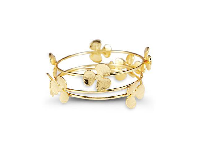Gold Tone Metal Floral Triple Band Bangle Bracelet