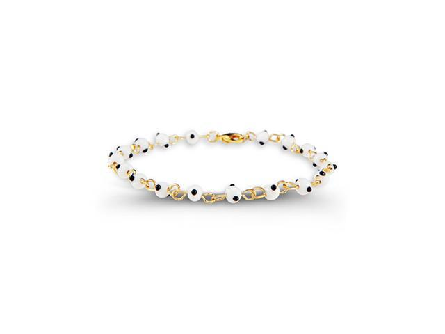 Gold Tone Round White Black Dot Glass Beads Bracelet