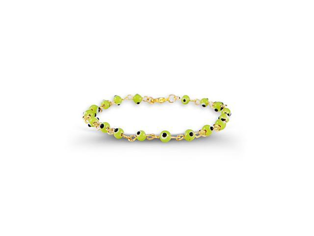 Round Green Glass Beads Gold Tone Chain Link Bracelet