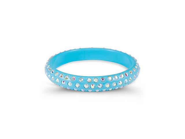Rainbow Swarovski Crystal Light Blue Bangle Bracelet