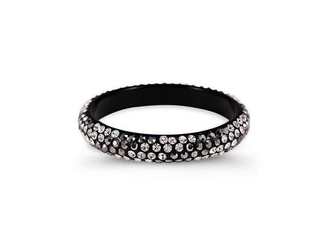Grey White Swarovski Crystal Black Bangle Bracelet