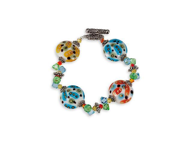 Multi-Color Round Glass Beads Silver Tone Bracelet