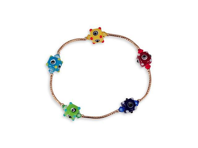 Multi-Color Glass Beads Eyes Cube Gold Tone Bracelet
