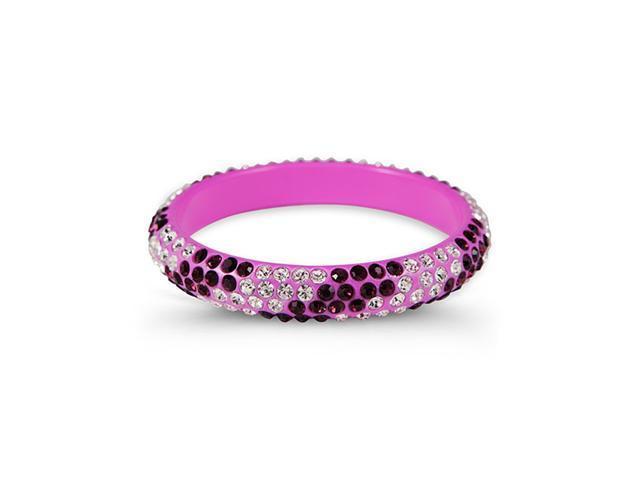 White Amethyst Swarovski Crystal Purple Bangle Bracelet