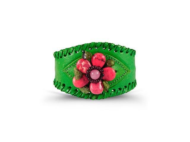 Green Leather PU Pink Green Brown Stone Flower Cuff