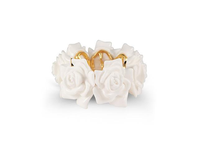 Solid White Floral Acrylic Stretch Bangle Bracelet