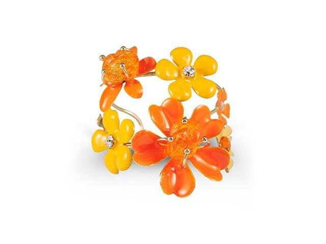 Gold Tone White CZ Orange Stone Floral Bangle Bracelet