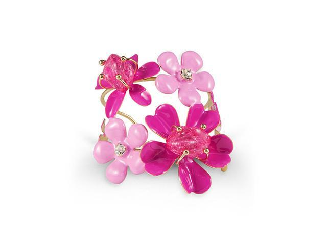 Gold Tone White CZ Pink Stone Floral Bangle Bracelet