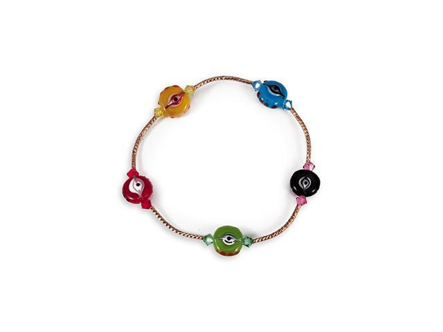 Multi-Color Solid Round Glass Beads Gold Tone Bracelet