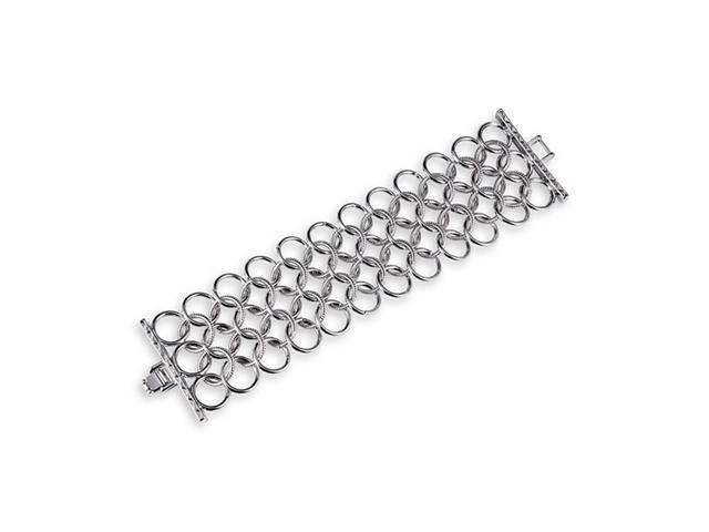 Silver Tone Solid Round Chain Link Extra Wide Bracelet