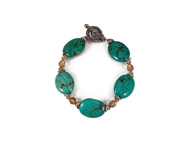 Brown Beads Turquoise Color Stone Silver Tone Bracelet