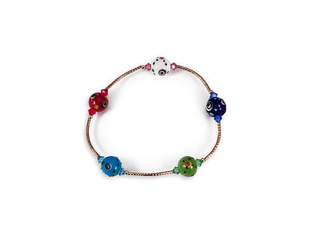 Multi-Color Glass Beads Gold Tone Stretch Bracelet