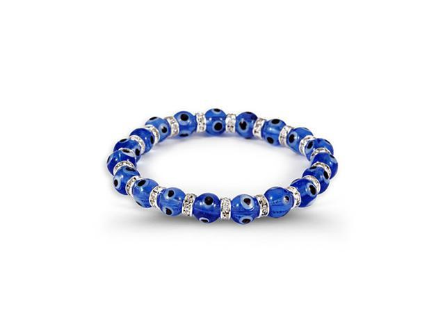 White CZ  Band Blue Glass Beads Silver Tone Bracelet