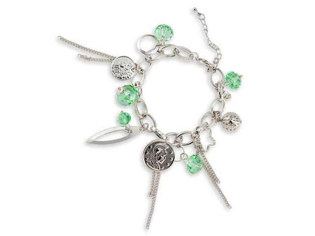 Silver Tone Light Green Crystals Coins Charm Bracelet