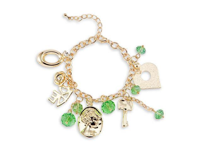 Heart Love Gold Tone Green Crystals CZ Charm Bracelet
