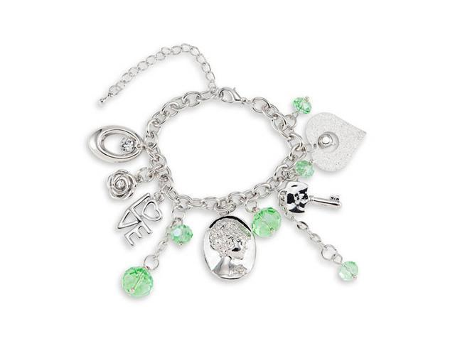 Silver Tone Green Crystals Heart Love CZ Charm Bracelet