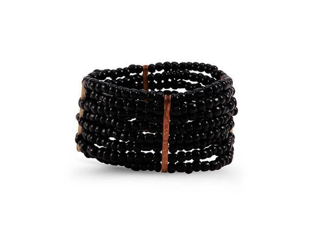 New Women's Black Synthetic Beads Wood Stretch Bracelet