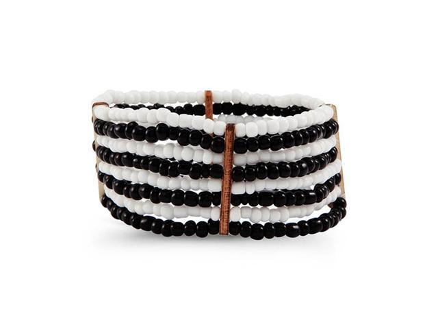 Women's Black White Synthetic Beads Stretch Bracelet
