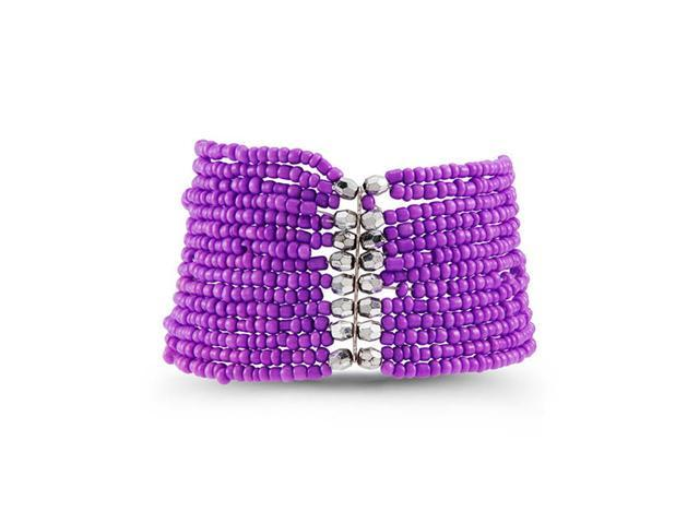 Women's Purple Silver Tone Beads Wide Stretch Bracelet