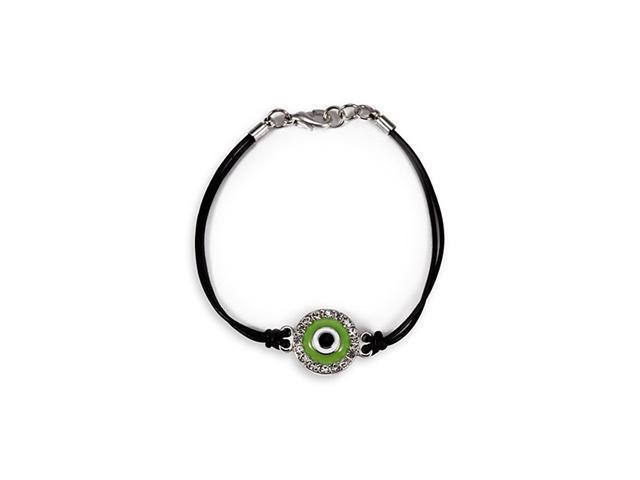 White CZ Round Green Black Center Glass Bead Bracelet