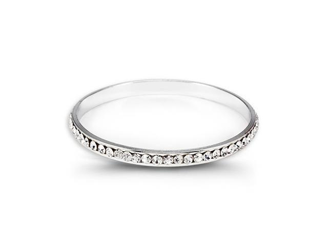 Polished Silver Tone Round White CZ Bangle Bracelet