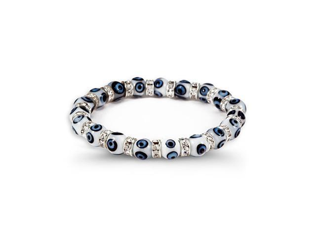 Silver Tone White Blue Center Glass Beads CZ Bracelet