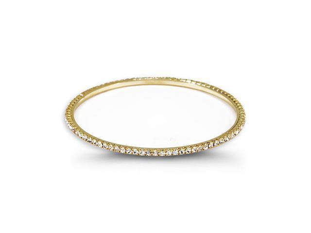Gold Tone White Round CZ Band Solid Bangle Bracelet