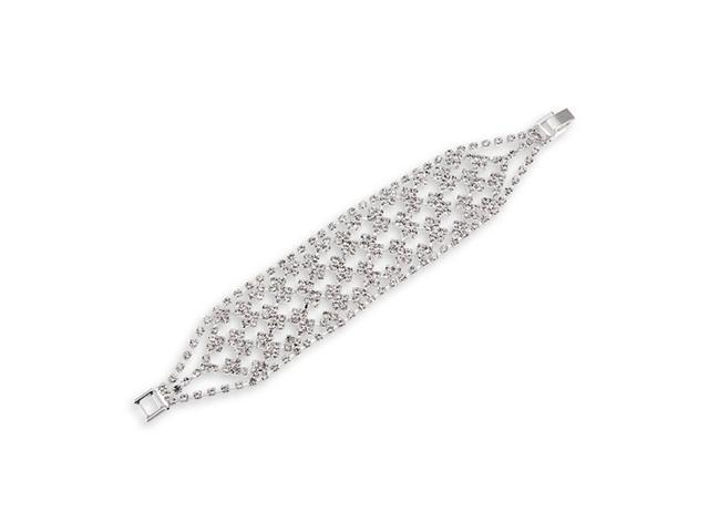 Polished Round White CZ Silver Tone Fashion Bracelet