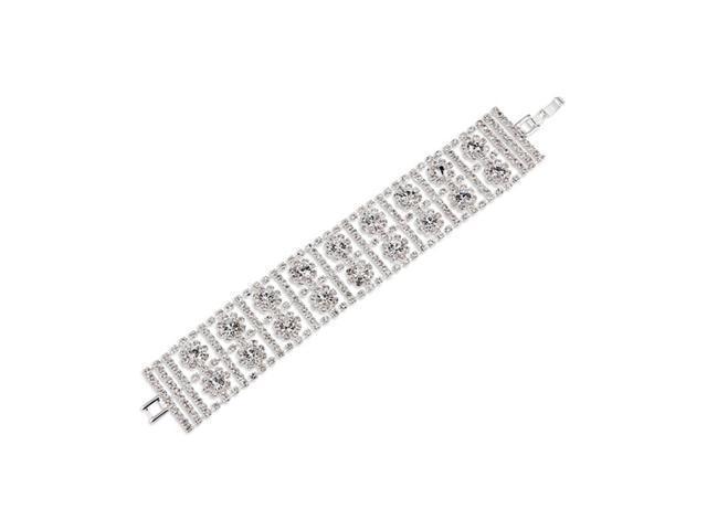 Round White CZ Polished Silver Tone Floral Bracelet