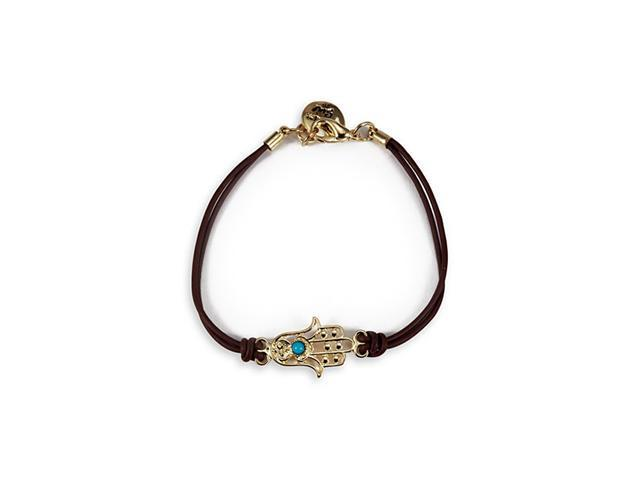 Gold Tone Charm Brown Band Turquoise Hamsa Bracelet