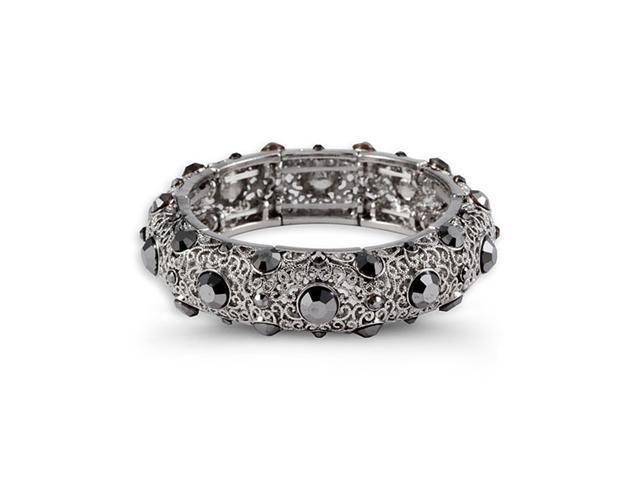 Round Grey CZ Scroll Silver Tone Link Bangle Bracelet